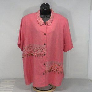 Napa Valley 2X Floral Beaded Linen Blend Tunic Top